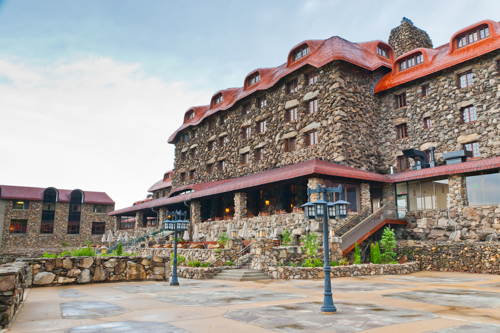 Asheville - SEP 3: The Omni Grove Park Inn Resort Hotel on September 3 2013 in Asheville North CarolinaUSA. The old historic hotel opened in 1913 and has been visited by many United States presidents.